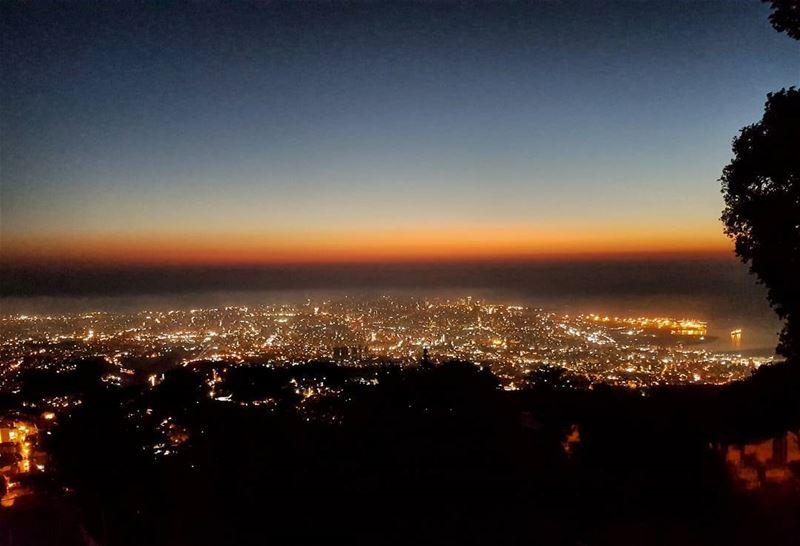 Beirut City at dusk beirut beirutcity dusk color sunset ... (Beit Meri, Mont-Liban, Lebanon)