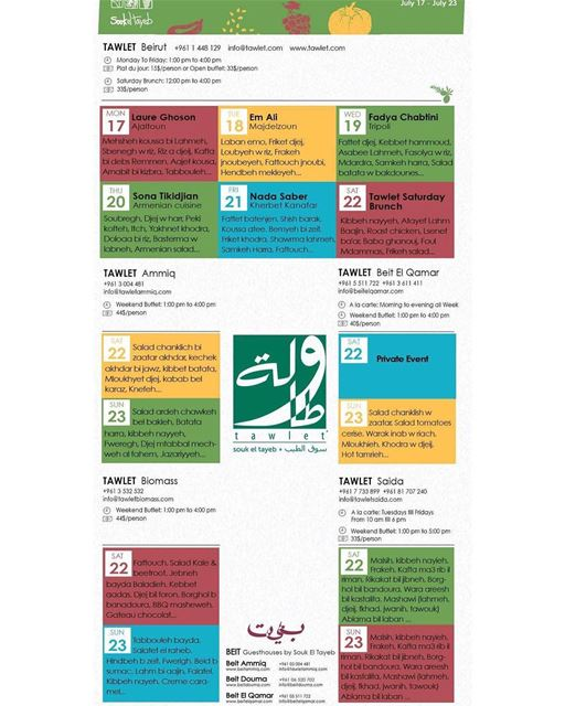 Here is the menu of all tawlets for this week... Sahtein ! SoukelTayeb ...
