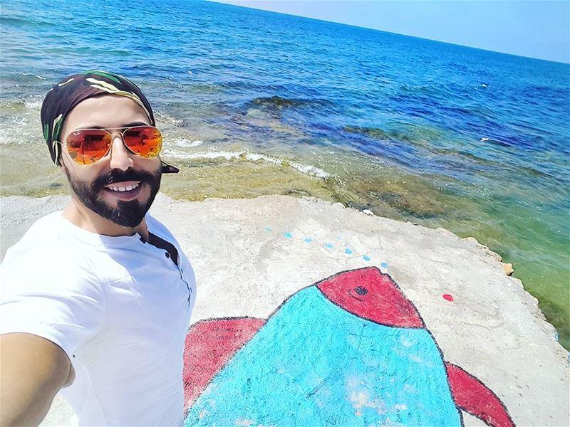 و منقول بونجور 🐟🐟😚 goprohero4 gopro summertime summer lebanon sea... (Sarafand)
