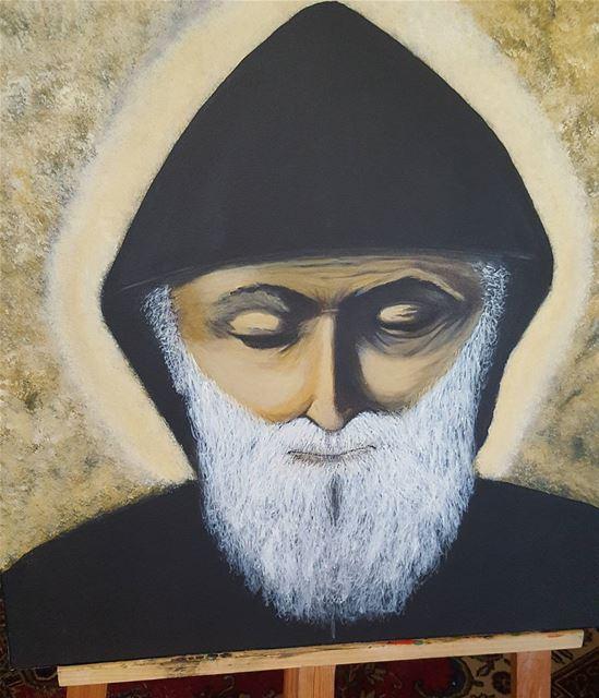 art artist painting saint St.Charbel acrylic oilpainting... (Aley)