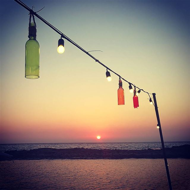 tb thursday shekka soukelakel bottles brokenbottles sunset sea ... (Chekka Al Herry)