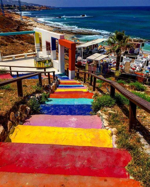 lebanon batroun stairway coloredstairs beach summer beirut ... (Batroûn)