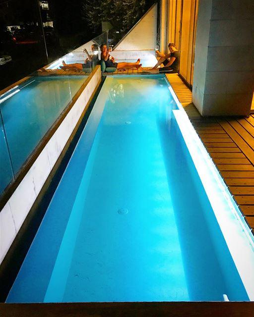 Summer night talks 🥂 pool balcony ... (Mazra`At Yashu`, Mont-Liban, Lebanon)