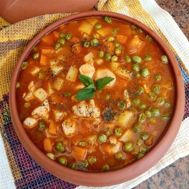 "Homestyle ""bazella w-ruz"" (peas and rice stew), lightened-up by switching... (Dayr Al Qamar, Mont-Liban, Lebanon)"