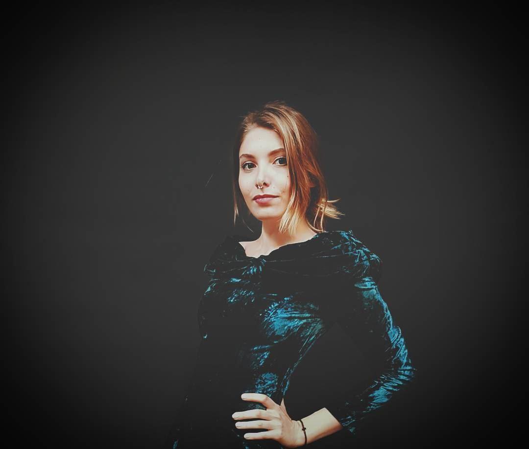 •Blue Velvet• retro photography portrait blue velvet dress fade ...