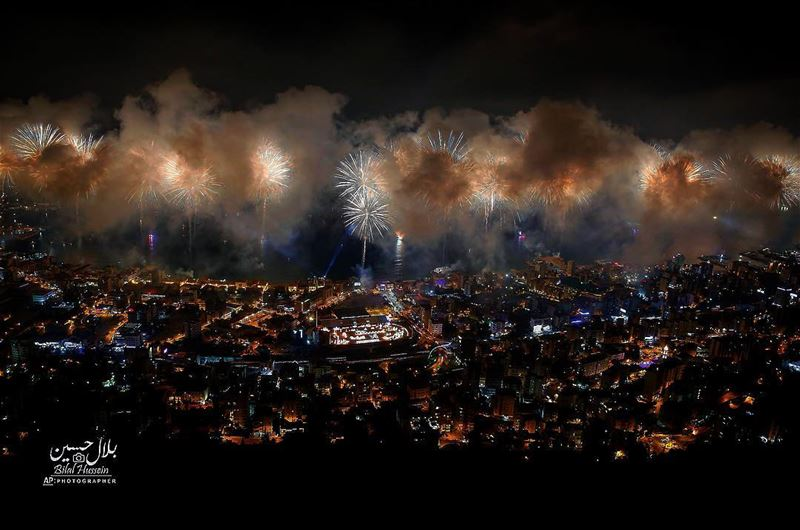 Fireworks explode over the coastal town of Jounieh, Lebanon, Saturday,...