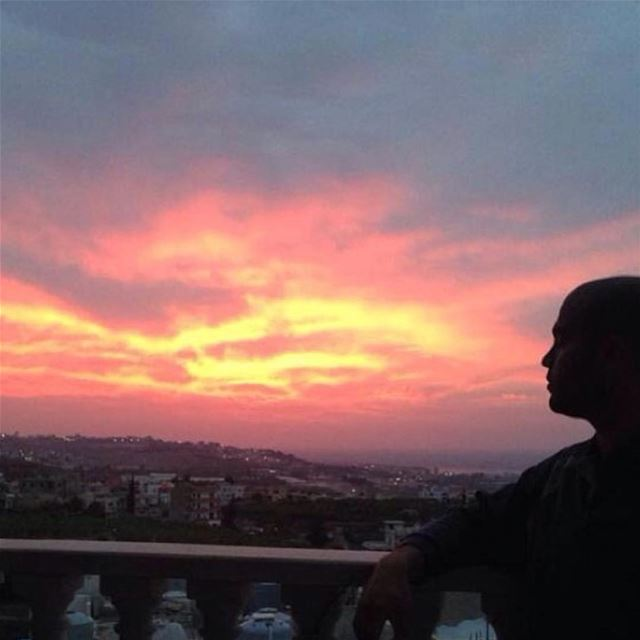 sunset lebanon south red sky sun view nice love village terrace... (الجنوب)