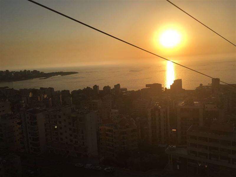The view from the telepherique 🌅 sunset horizon telepherique jounieh ... (Joünié)