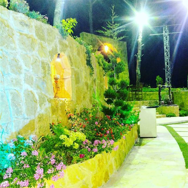 Enjoying  night in   nature  green  colors  entertainment  dinner  food ... (Jardin Des Reves)