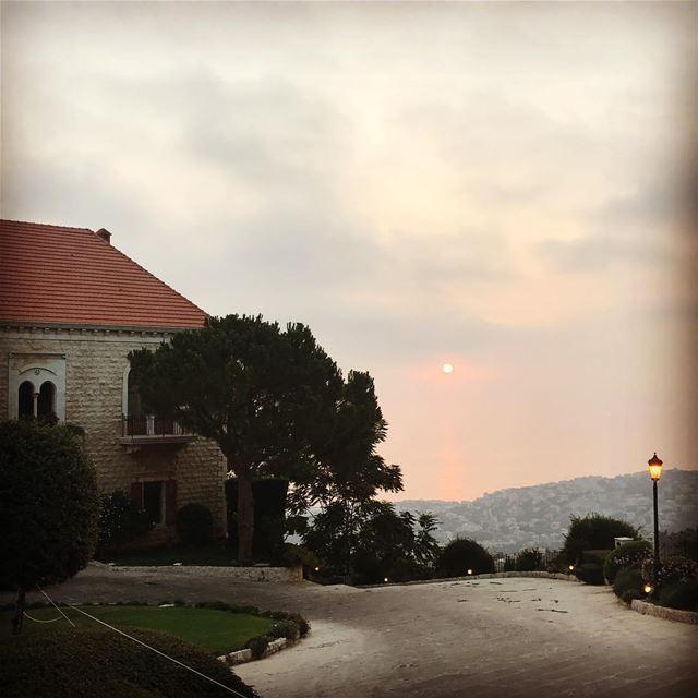 lebanon lebanonhouses sunset sea mediterraneansea pine trees sky clouds... (Dlebta, Mont-Liban, Lebanon)