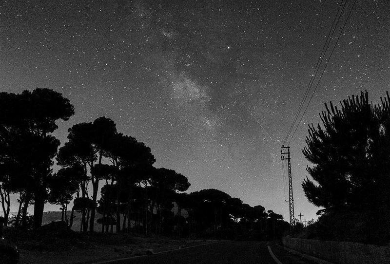 Starry night 🌌 ..... night nightphotography nightshot landscape... (Jezzîne, Al Janub, Lebanon)