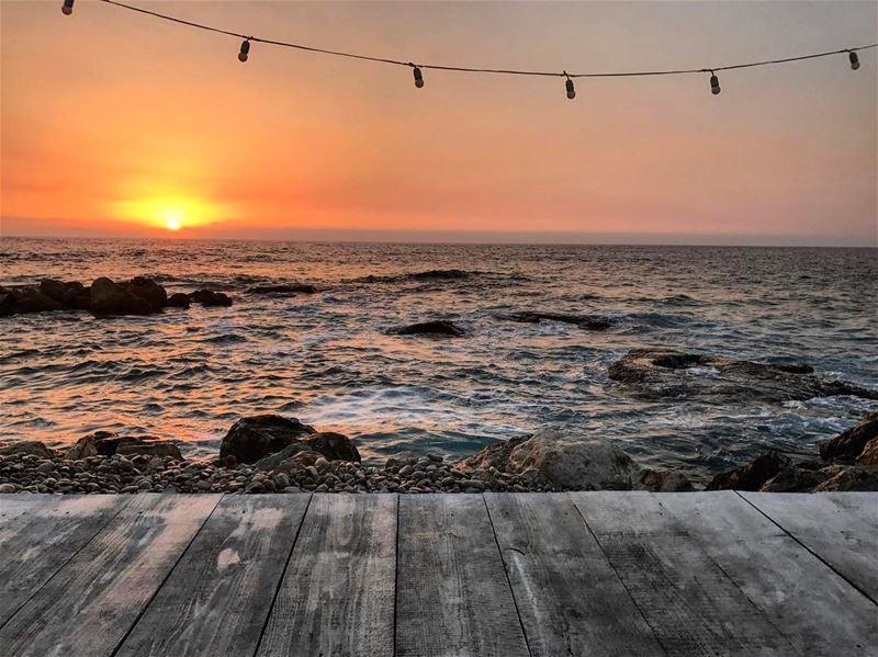 Sunset 🌅 lebanon sunset beach livelovebatroun livelovelebanon ... (Isla - pebble bar)