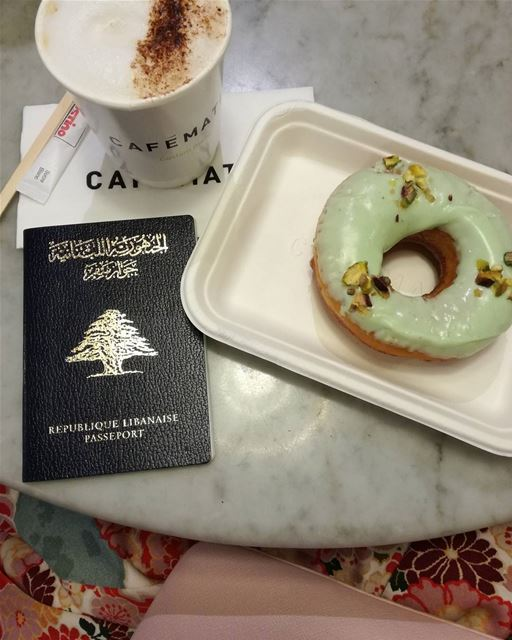 Yallah bye 👋💕🇱🇧 lebanon airport beirut donut coffee plane ... (Beirut–Rafic Hariri International Airport)