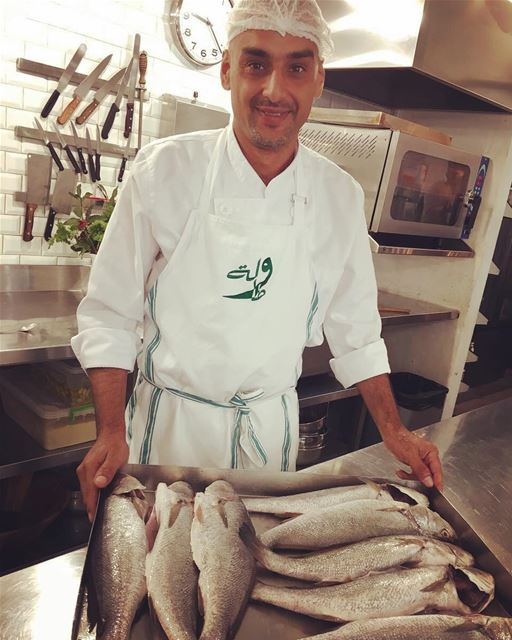 Chef Hamzah is preparing Mesa'ar for today's lunch buffet at Tawlet...