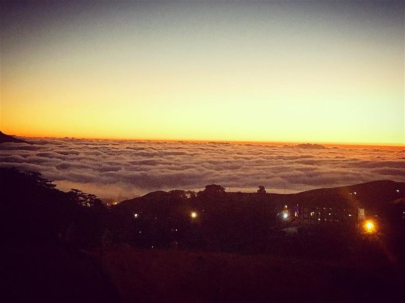 cedars international festival north lebanon fog sunset ... (Cedars Festival)