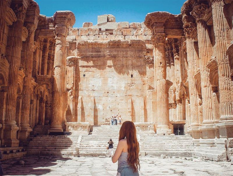 In the majesty of time ! BAALBECK 🌞💙... . lebanon baalbeck ... (Temple of Bacchus)