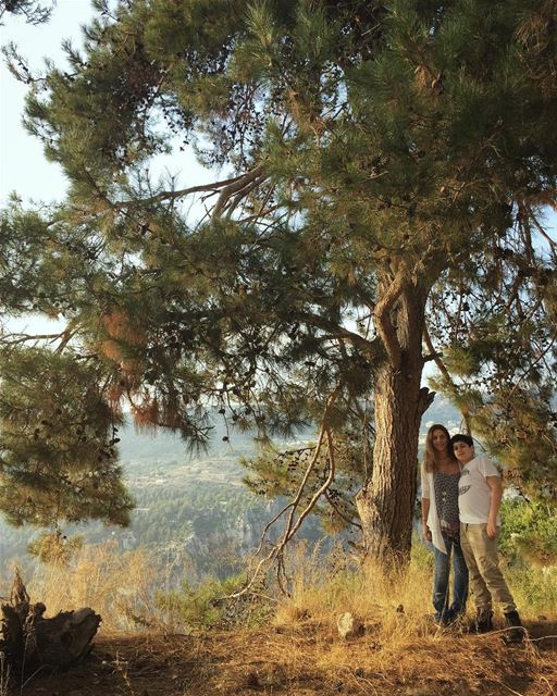 Mother and son nature therapy tree pinetree mountain mountainslovers ... (Yahchouch)