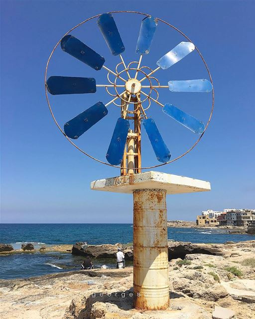The wind wheel, Symbol of the coastal town of Enfeh, North of Lebanon 🇱🇧... (Al Baydar Restaurant)