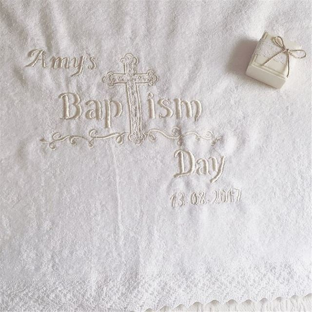 Sweet Angel 😇 Baptism towels, candles, flowers, set up... Write it on...