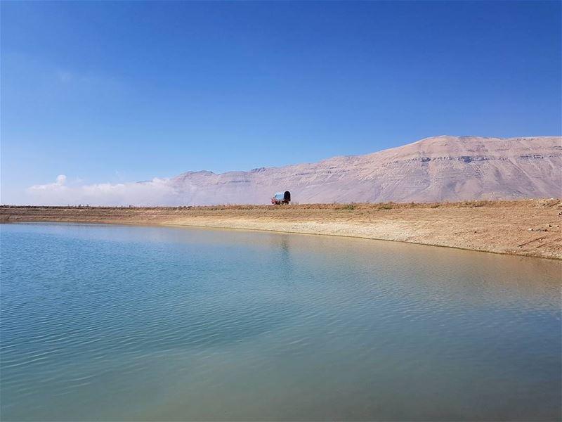 Between the lake and the peak lake mountains mountainsoflebanon ... (The Cedars of Lebanon)