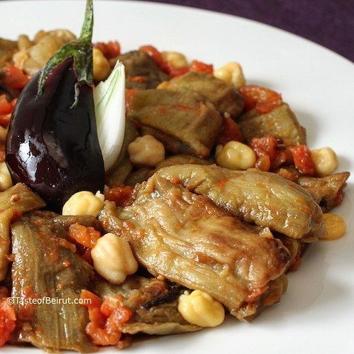 This 100% vegan eggplant, tomato, onion and chickpea stew is called... (Beirut, Lebanon)