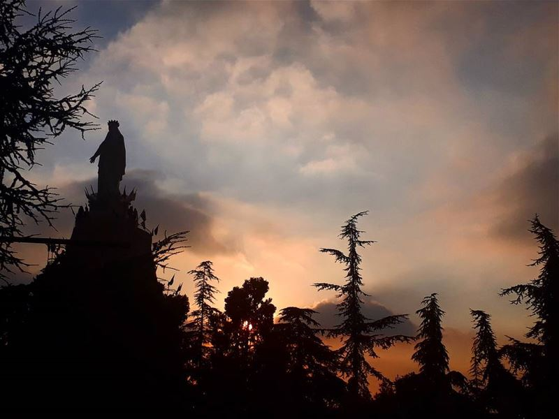 Every sunset is an opportunity to reset 🌅🙇 harissa stmary ... (The Lady of Lebanon - Harissa)