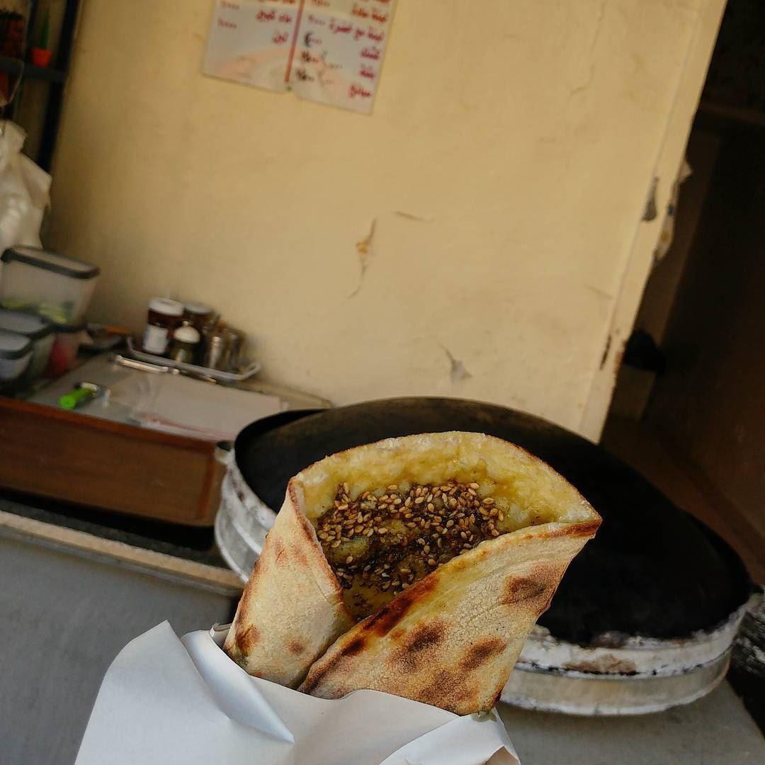 Piping hot, plain (zaatar only). manoush flatbread Lebanon beirutfood ... (Ain el remeneh)