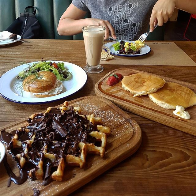 Scrambled eggs, cream cheese bagel, pancakes and chocolate waffles! Which... (The CORNER)