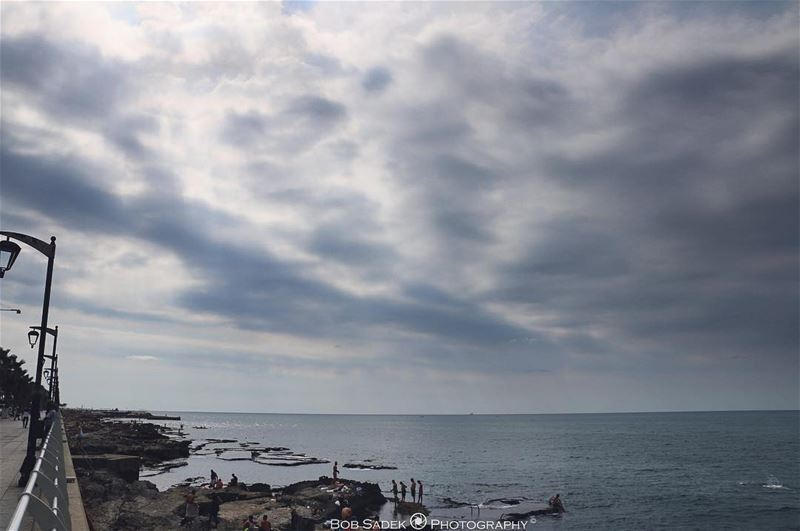 B A S I C 🌊 bobsadekphotography me photographing sea clouds nature ... (Ain El Mreisse, Beyrouth, Lebanon)