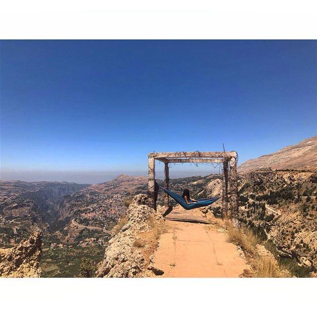 موطن قلبي ❤..... hammocklife hammock camping mountains cliff ... (Cedars of God)