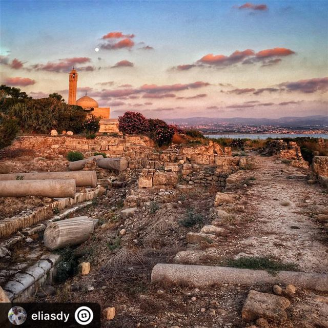 """Roman times... sunset sunday historic mosque sour lebanon tyre ..."