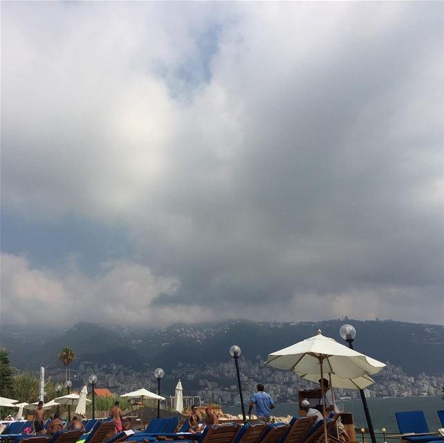 lebanon mountains clouds beach jounieh beautiful beautifulview ... (Palapas Beach & Resort)