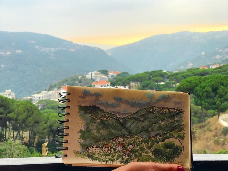 Painting perfect 🏡 drawing by @beatrixvidak lebanon broumana ... (Broummâna, Mont-Liban, Lebanon)