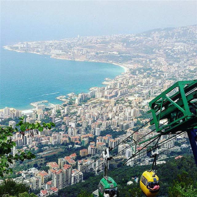 Panoramic view of the Bay Of Jounieh from the Teleferique Aerial Cableway...