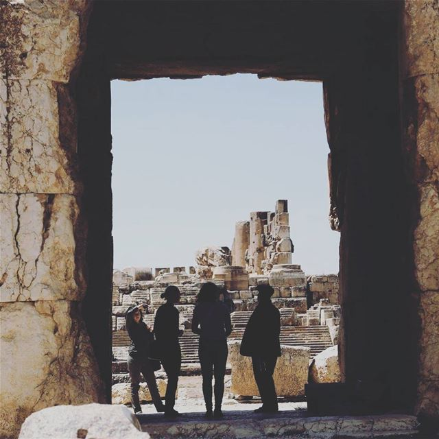 """The guide"" a group of tourists being guided through the old ruins of... (Baalbek, Lebanon)"
