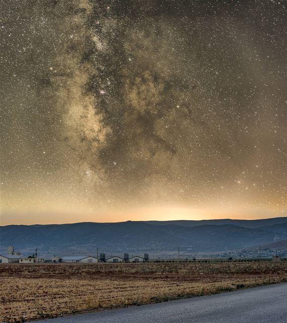"""A sunset the eye won't catch.When Milky Way naps on Earth"". (Deir el Ahmar)"