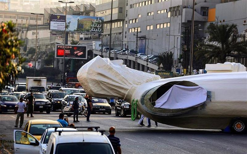 A 40 tons and 23m statue of Saint Charbel is being transported from ... (Faraya, Mont-Liban, Lebanon)