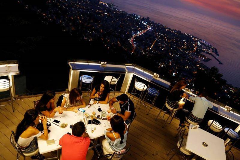 Night Lights ✨ AtTheTop📍 @theterrace_lebanon FloatingBar ... (The Terrace - Restaurant & Bar Lounge)