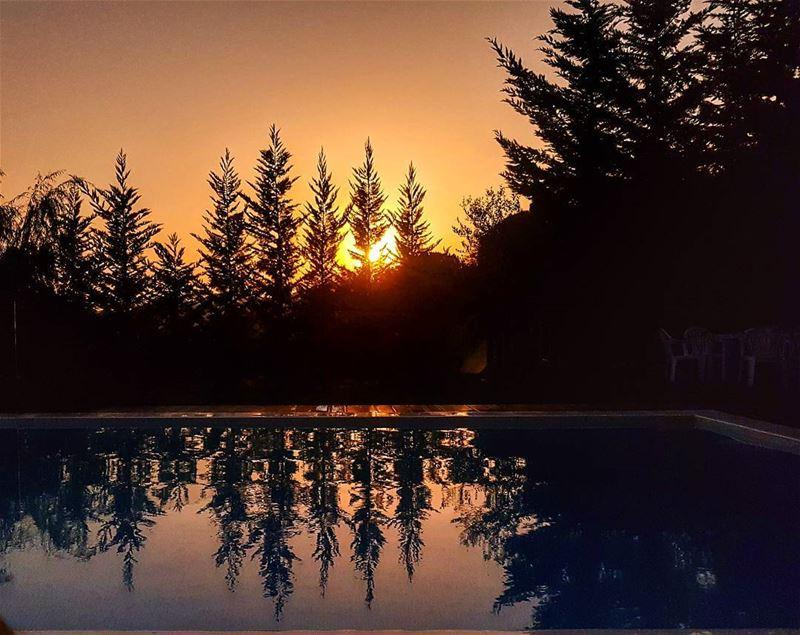 Sunset reflections sunset sunset_ig pool reflection livelovelebanon ... (Brummana)