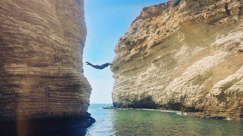 """The moment you lose control willingly""  adrenaline 🏹 dive  fly  risk ... (روشة بيروت)"