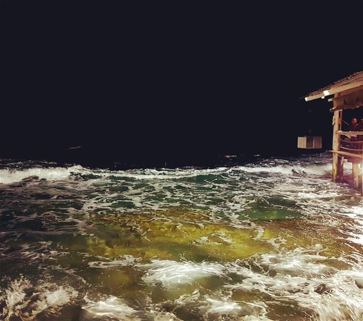 Sea Waves Lebanon Night ... (Amchitt, Mont-Liban, Lebanon)