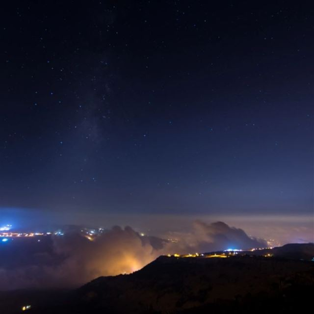 clouds stars milkyway citylights mountains dark lebanon snapshot ... (Mount Sannine)