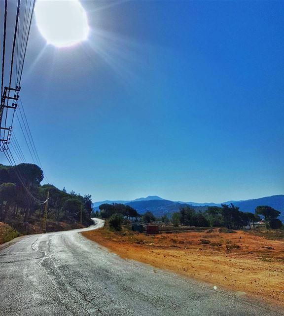 Morning views road empty mountains landscape sun livelovelebanon ... (Ouyoun)