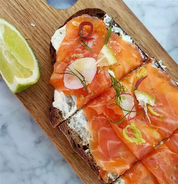 Smoked Salmon Wasabi Tartine at @lapetitetablelb (La Petite Table - LB)