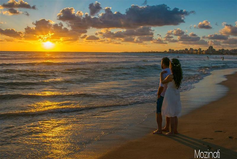 sunsets sunset sunset_hub sunsetlovers sea beach sand couple couples... (Tyre, Lebanon)