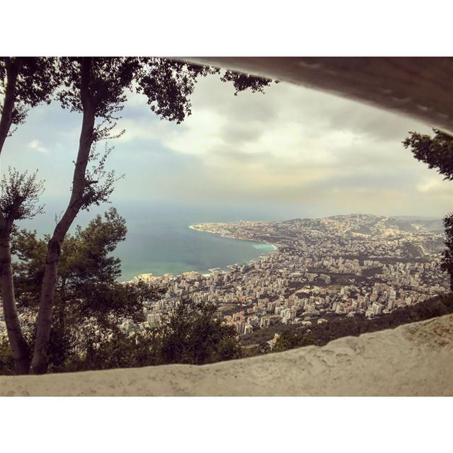 Jounieh bay...such a beautiful view...... jounieh bay view top ... (The Lady of Lebanon - Harissa)