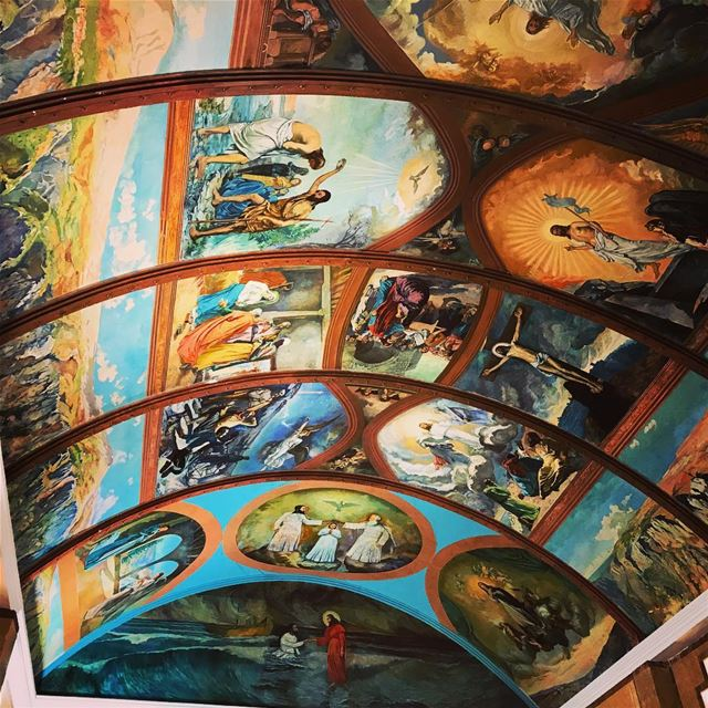 Have a blessed sunday! diman paintings illustrations ceiling ... (Maronite Patriarchate - Diman North Lebanon)
