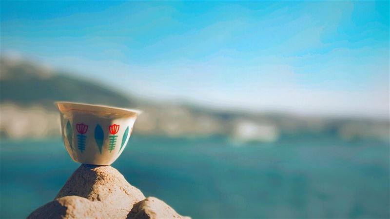 Coffee, Sun and Sea ☕️🌊☀️🌈 GoodMorning cup coffee morning sun sea ... (لبنان)