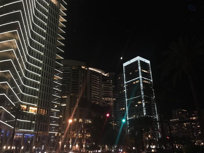 carcapture moonlight buildings beirutbynight beirutnights beirut ... (Zaitunay Bay)