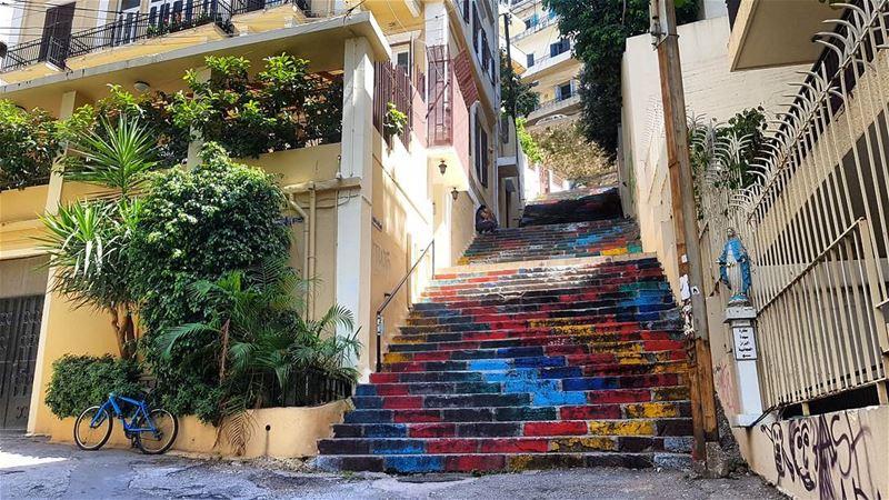 Stairs in Mar Mikhael, Beirut. latergram paintedstairs graffiti ... (Mar Mikhael-Armenia The Street)